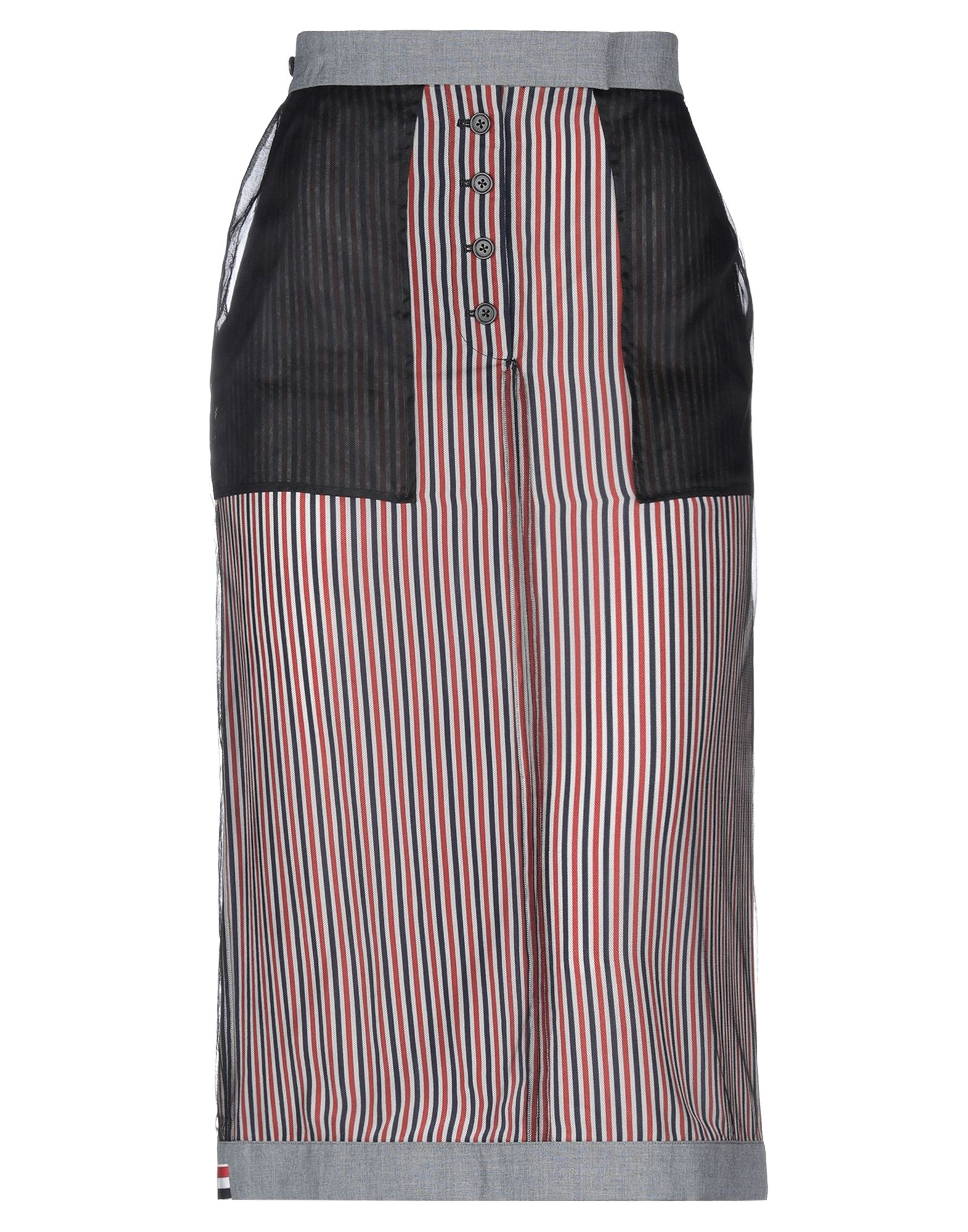 THOM BROWNE 3/4 length skirts. plain weave, tulle, contrasting applications, stripes, multipockets, hook-and-bar, button fly closure, fully lined, rear slit. 50% Wool, 50% Polyester, Silk, Polyamide