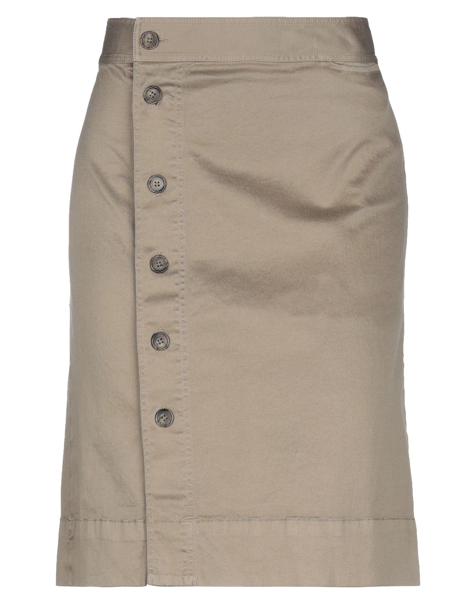 J.CREW Knee length skirts. gabardine, no appliqués, basic solid color, no pockets, front closure, button closing, unlined. 99% Cotton, 1% Elastane