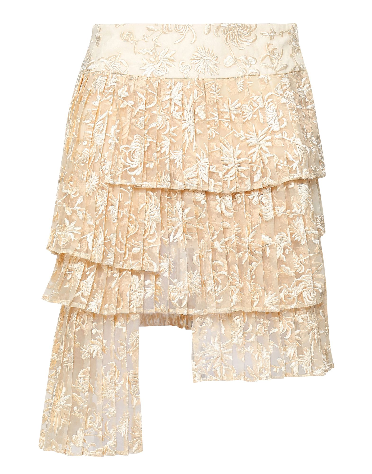 ZIMMERMANN Knee length skirts. organza, folds, solid color, mid rise, no pockets, button closing, fully lined. 100% Nylon