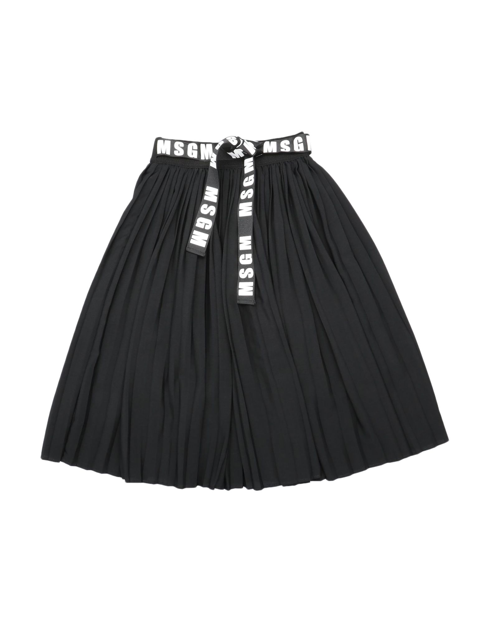 MSGM Skirts. do not wash, dry cleanable, iron at 110degree c max, do not bleach, do not tumble dry, grosgrain, crepe, pleated, sash, logo, solid color, elasticized waist, no pockets, unlined. 100% Polyester