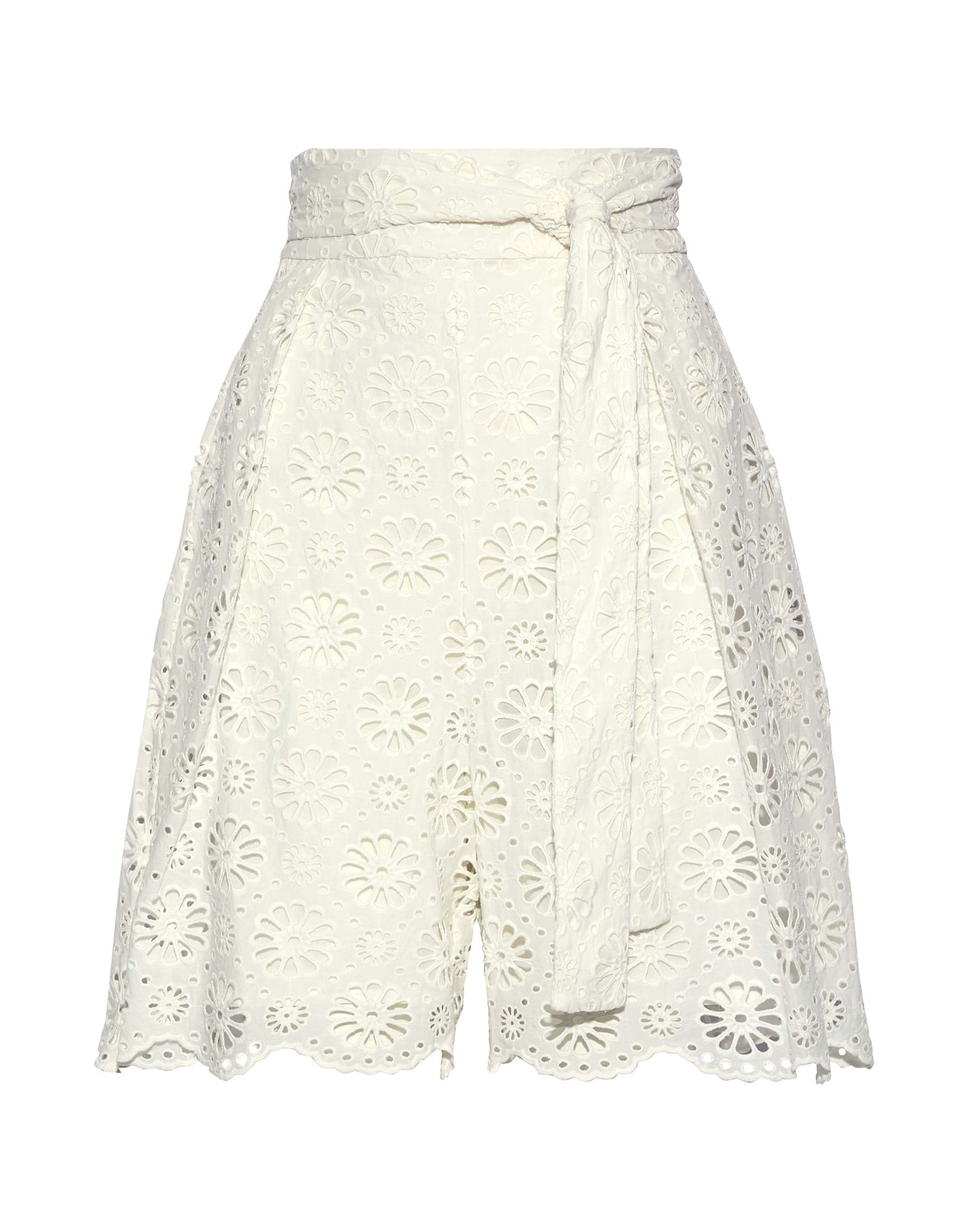 ZIMMERMANN Bermudas. lace, basic solid color, folds, belt, high waisted, regular fit, hook-and-bar, zip, no pockets, fully lined. 100% Cotton
