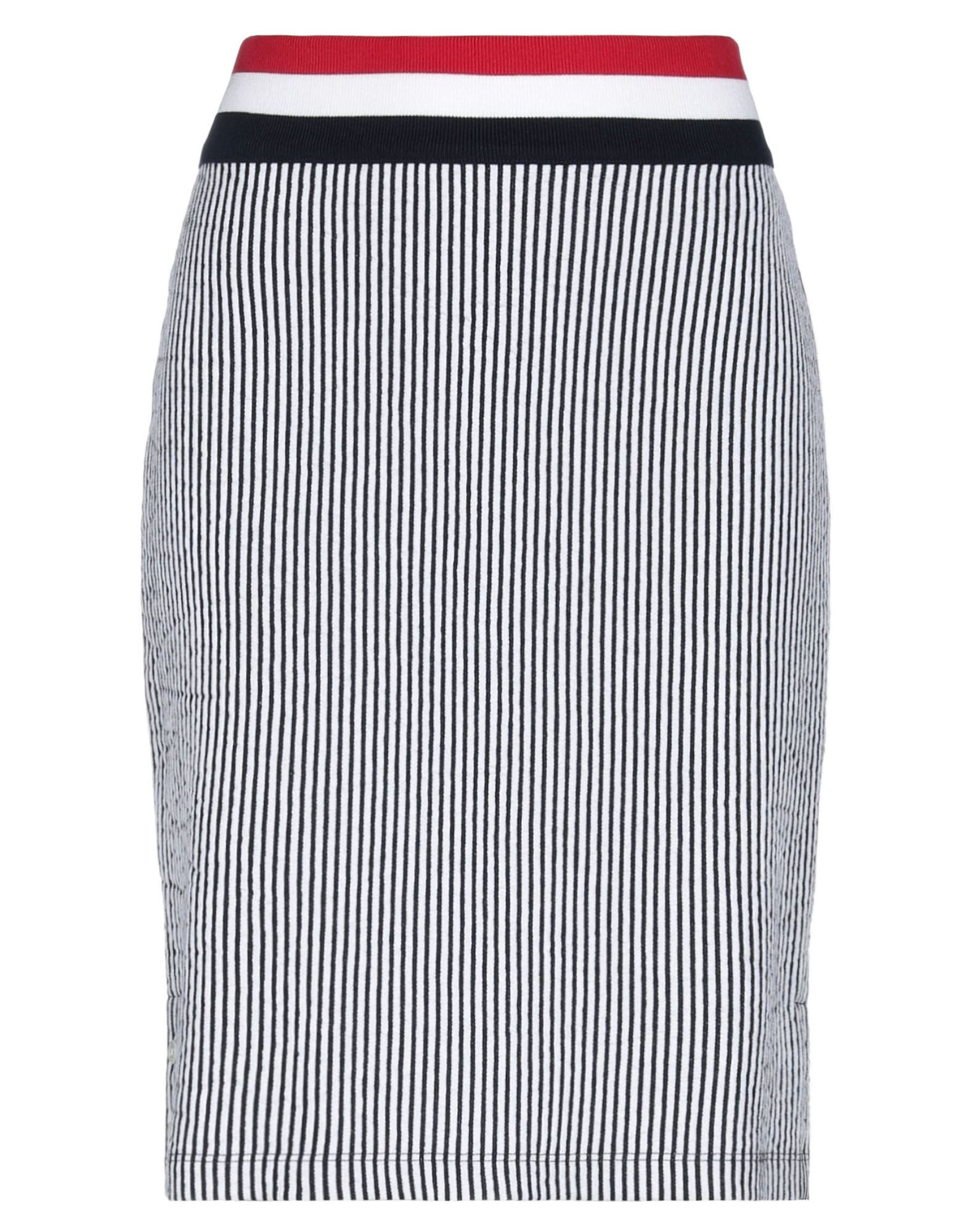 THOM BROWNE Knee length skirts. jersey, no appliqués, stripes, mid rise, no pockets, front closure, elasticized, unlined, buttoned cuffs. 100% Cotton, Elastane