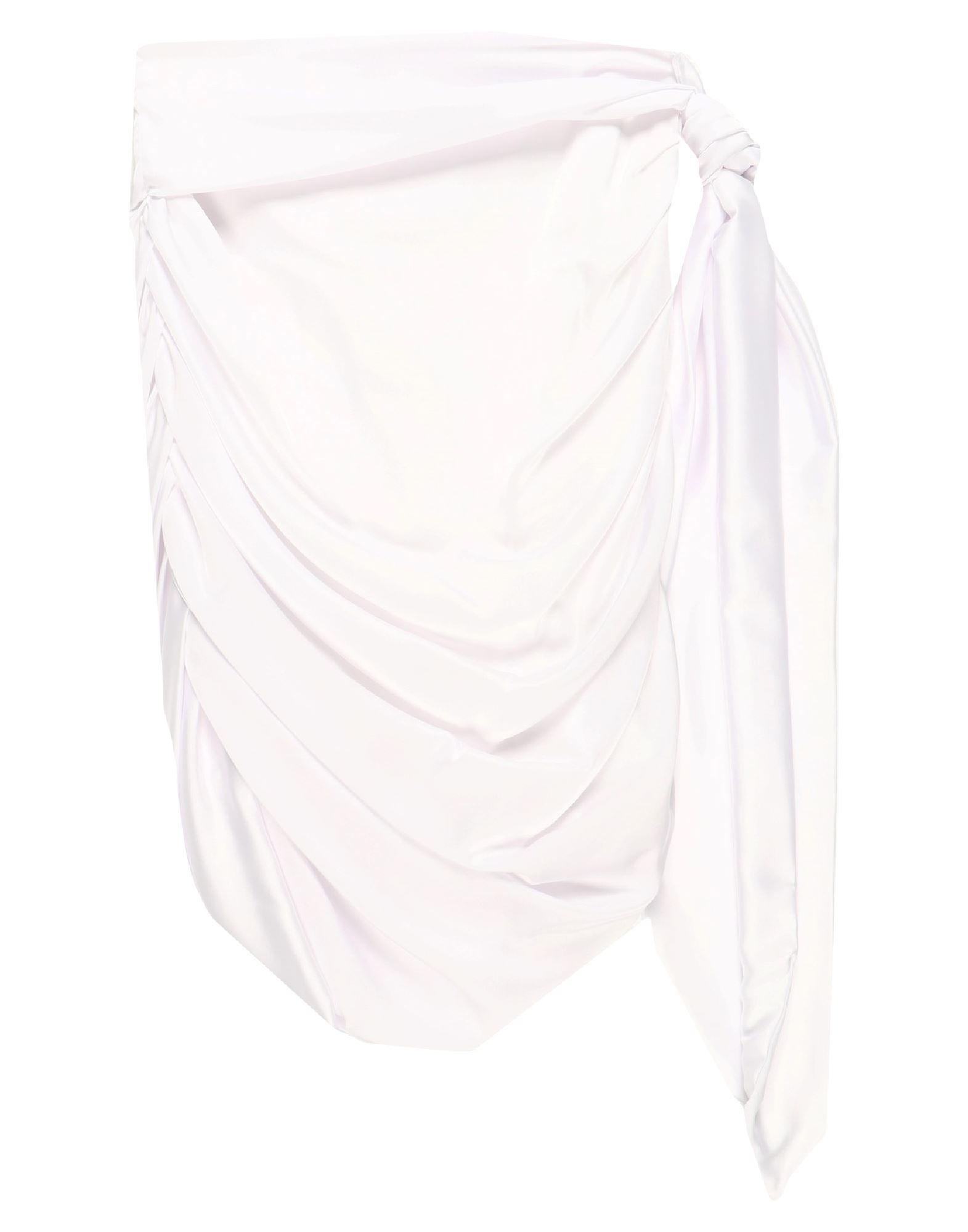 《セール開催中》NEVER BE THE SAME レディース ひざ丈スカート ホワイト S ポリエステル 97% / ポリウレタン 3%