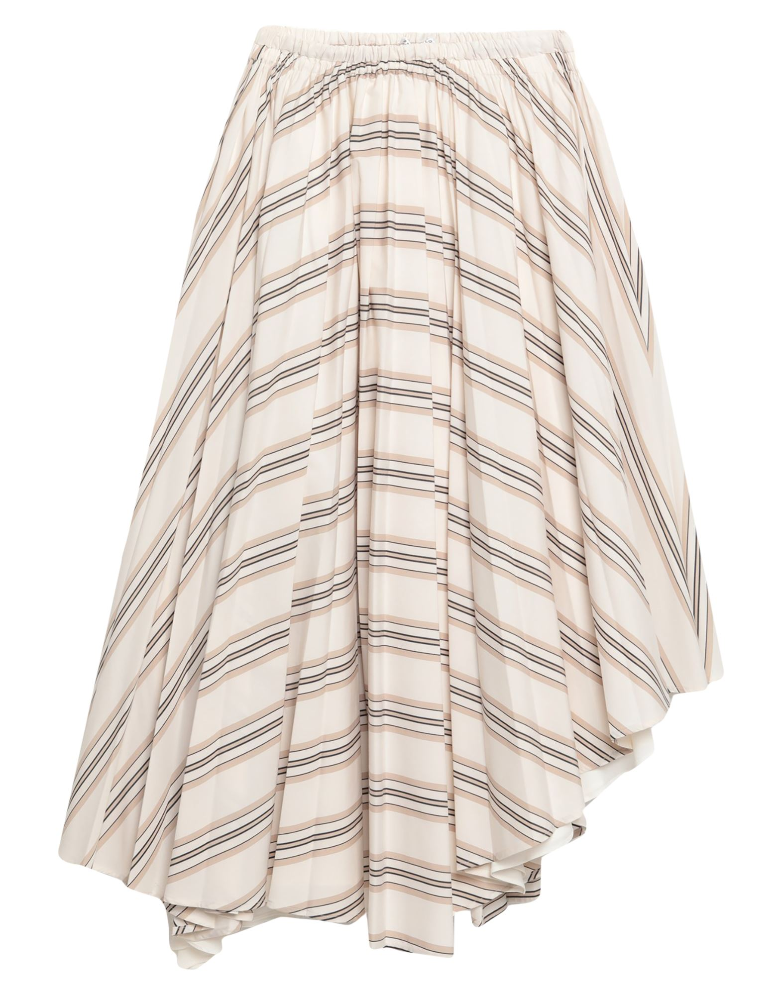 BRUNELLO CUCINELLI Knee length skirts. contains non-textile parts of animal origin, plain weave, no appliqués, stripes, no pockets, no fastening, elasticized waist, fully lined. 65% Polyester, 35% Cotton