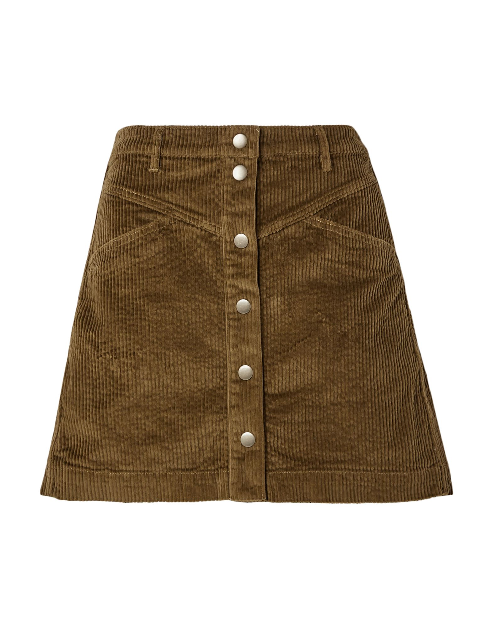 MADEWELL Mini skirts. velvet, ribbed, no appliqués, basic solid color, multipockets, front closure, snap buttons fastening, unlined, stretch. 98% Cotton, 2% Elastane