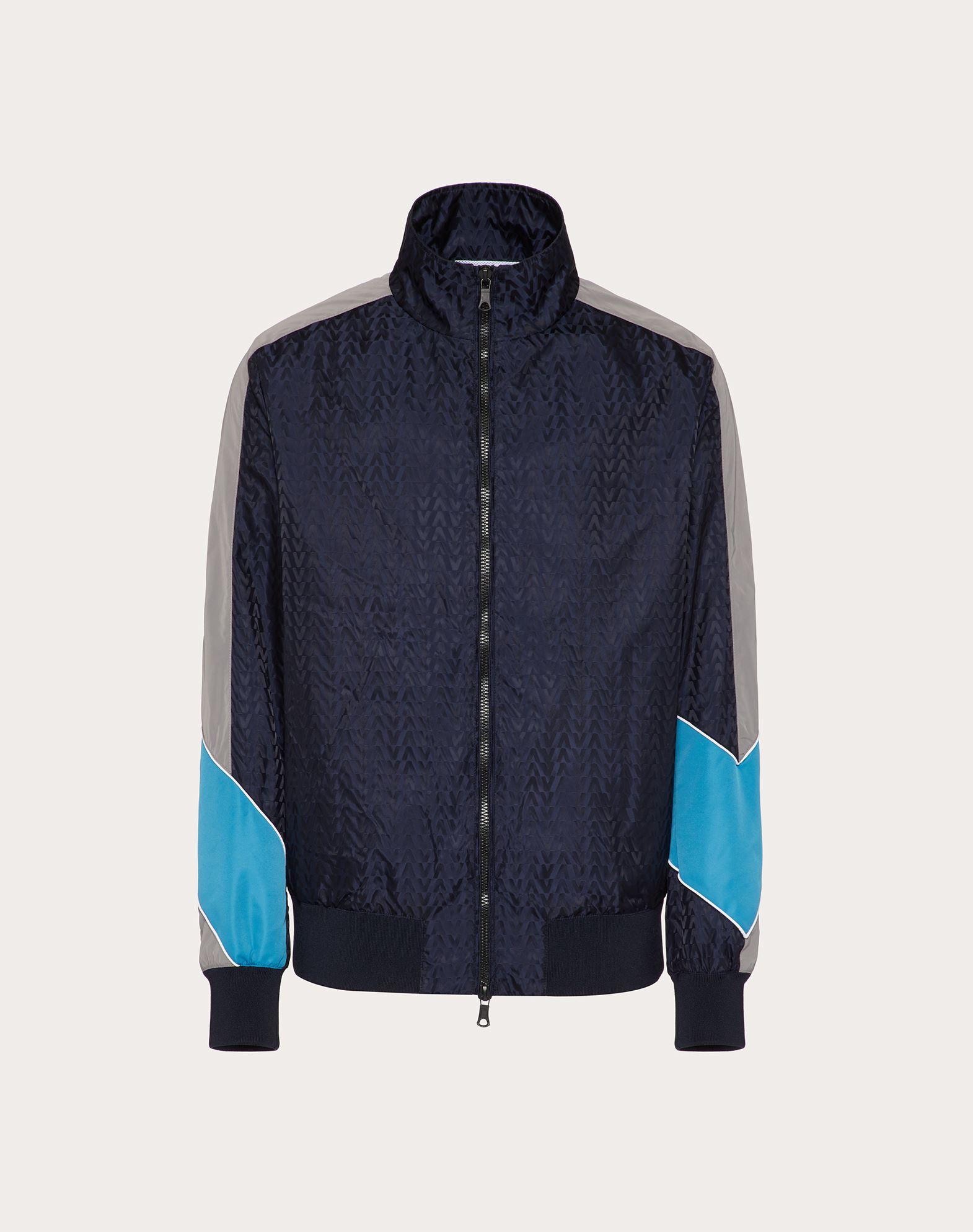 Valentino Uomo Blouson Aus Nylon Mit Optical -print Herren Navy Blue 100% Poliammide 52