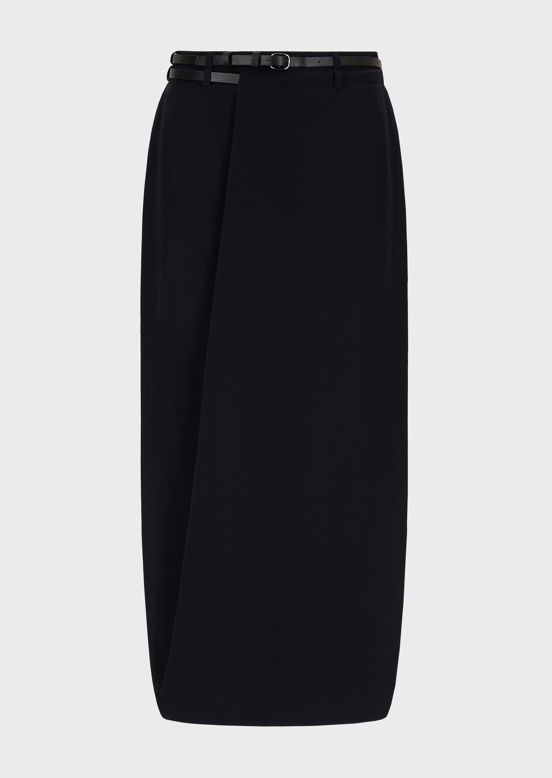 EMPORIO ARMANI Technical cady, below-mid-calf length skirt with leather belt