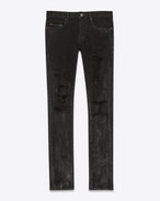 SAINT LAURENT Pantalone Denim U Jeans skinny Original a vita bassa neri in denim stretch effetto macchiato f