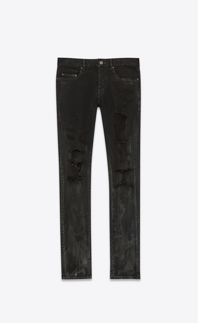 SAINT LAURENT Skinny fit U ORIGINAL LOW WAISTED SKINNY JEAN IN Stained Effect Black Stretch Denim a_V4