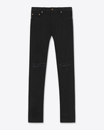 SAINT LAURENT Pantalone Denim U Jeans skinny Original a vita bassa neri in denim lavato stretch f