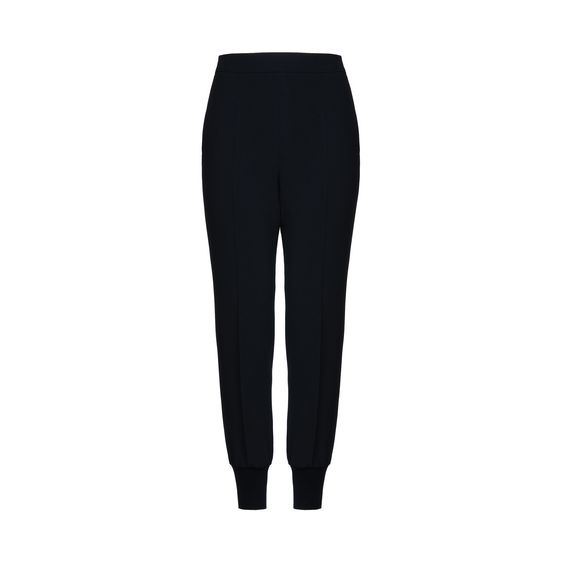 Faux Leather-Insert Jogging Trousers, Navy