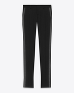 SAINT LAURENT Classic Pant D Iconic Le Smoking Tube Trouser in Black Grain de Poudre Textured Wool f