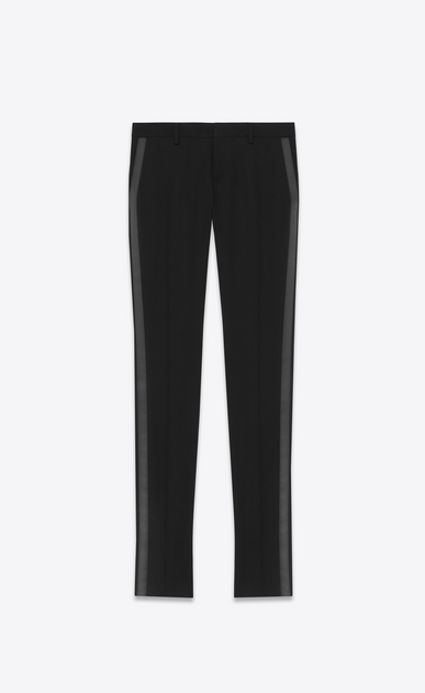SAINT LAURENT Classic Pant D Iconic Le Smoking Tube Trouser in Black Grain de Poudre Textured Wool a_V4