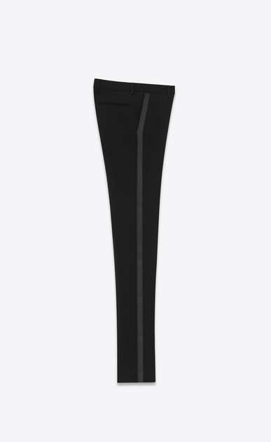 SAINT LAURENT Classic Pant D Iconic Le Smoking Tube Trouser in Black Grain de Poudre Textured Wool b_V4