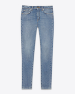 SAINT LAURENT Denim Trousers D ORIGINAL MID WAISTED Cropped SKINNY JEAN IN Dirty Light Blue Stretch Denim f