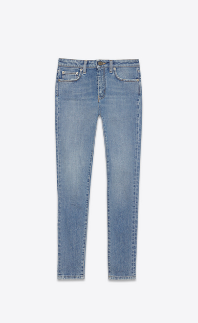 SAINT LAURENT Skinny fit D ORIGINAL MID WAISTED Cropped SKINNY JEAN IN Dirty Light Blue Stretch Denim v4