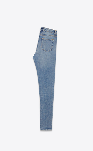 SAINT LAURENT Skinny fit D JEANS SKINNY ORIGINAL A VITA MEDIA CORTI blu chiaro dirty in denim stretch b_V4