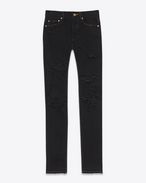 SAINT LAURENT Denim Trousers D ORIGINAL MID WAISTED Destroyed SKINNY JEAN IN Black Overdye Denim f