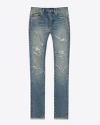 SAINT LAURENT Denim Pants D ORIGINAL MID WAISTED Destroyed SKINNY JEAN IN Blue Trash Denim f