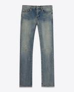 SAINT LAURENT Skinny fit U ORIGINAL Low WAISTED Knee Patch SKINNY JEAN IN Dirty Light Blue Stretch Denim f