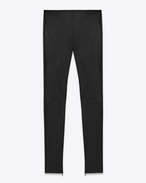 SAINT LAURENT Denim Pants D Mid Waist Leggings in Black Leather f