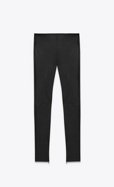 SAINT LAURENT Leather pants D Mid Waist Leggings in Black Leather a_V4