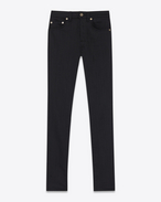 SAINT LAURENT Skinny fit D JEANS SKINNY ORIGINAL A VITA media neri in denim super stretch lavato f