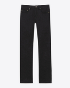 SAINT LAURENT Denim Trousers U ORIGINAL LOW WAISTED Straight JEAN IN Black Stretch Denim f
