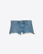 SAINT LAURENT Short Trousers D ORIGINAL Jean Shorts in Medium Blue Stretch Denim f