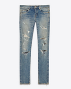 SAINT LAURENT Denim Pants D Original Low Waisted Skinny Jean in Blue Trash 50s Denim f