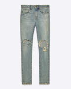 SAINT LAURENT Pantalone Denim D Jeans Skinny Original a vita media blu chiaro leggermente sporco in denim stretch indaco anni '70 f