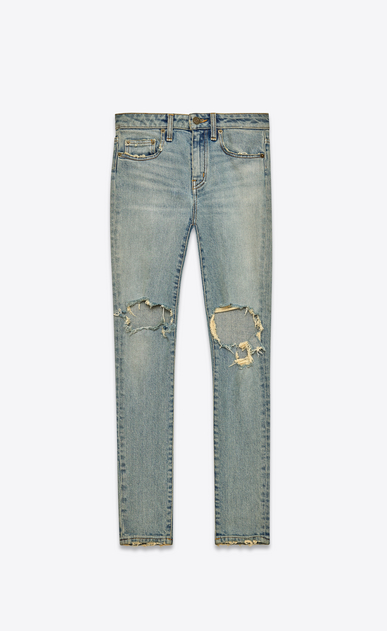 SAINT LAURENT Skinny fit D Jeans Skinny Original a vita media blu chiaro leggermente sporco in denim stretch indaco anni '70 a_V4