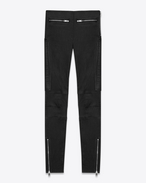 SAINT LAURENT Denim Trousers D Mid Waisted Motorcycle Legging in Black Leather f
