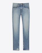SAINT LAURENT Pantalone Denim D Jeans Skinny Original a vita media in denim stretch chiaro lavaggio vintage f