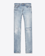 SAINT LAURENT Skinny fit U Original Low Waisted Skinny Jean in Light Blue Vintage Denim f