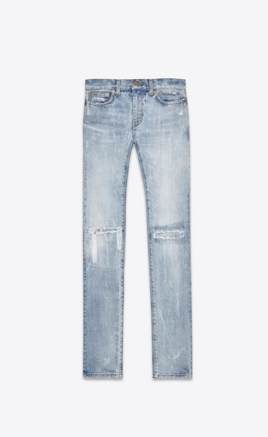SAINT LAURENT Skinny fit U Original Low Waisted Skinny Jean in Light Blue Vintage Denim a_V4