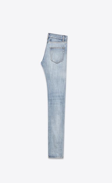 SAINT LAURENT Skinny fit U Original Low Waisted Skinny Jean in Light Blue Vintage Denim b_V4
