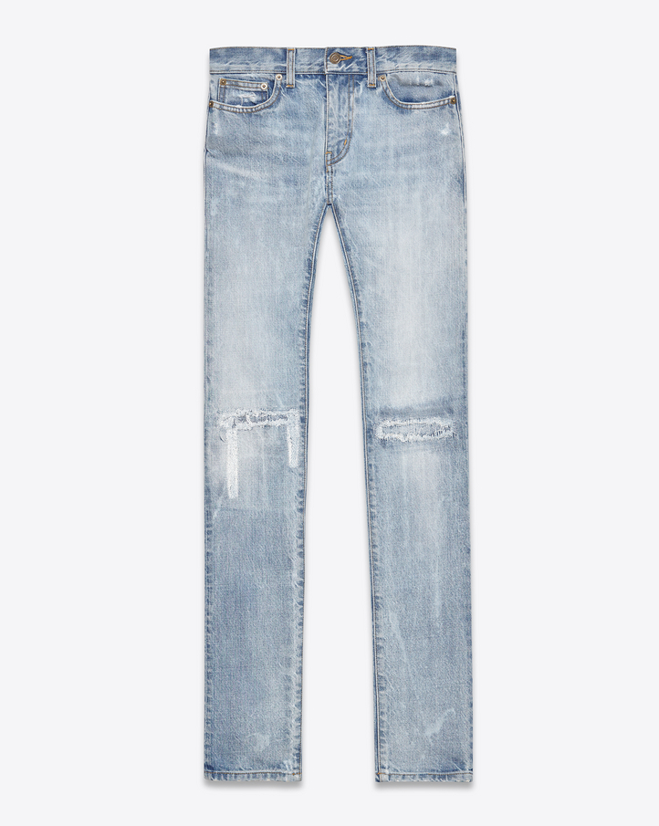 Saint Laurent Original Low Waisted Skinny Jean In Light Blue ...