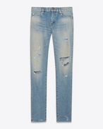 SAINT LAURENT Jeans U Original eng geschnittene Hüftjeans aus original blaue Trash-Denim in schmutziger Destroyed-Optik f