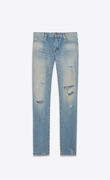 SAINT LAURENT Skinny fit Man ORIGINAL Low WAISTED Destroyed SKINNY JEAN IN Dirty Original Blue Trash Denim a_V4