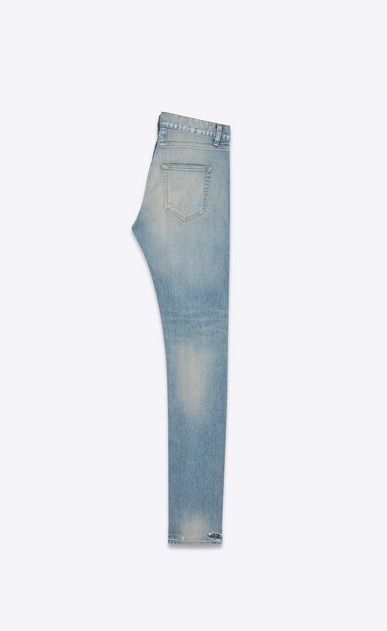 SAINT LAURENT Skinny fit Man ORIGINAL Low WAISTED Destroyed SKINNY JEAN IN Dirty Original Blue Trash Denim b_V4