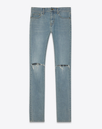 SAINT LAURENT Pantalone Denim U JEANS SKINNY ORIGINAL A VITA BASSA strappati blu vintage Original in DENIM f