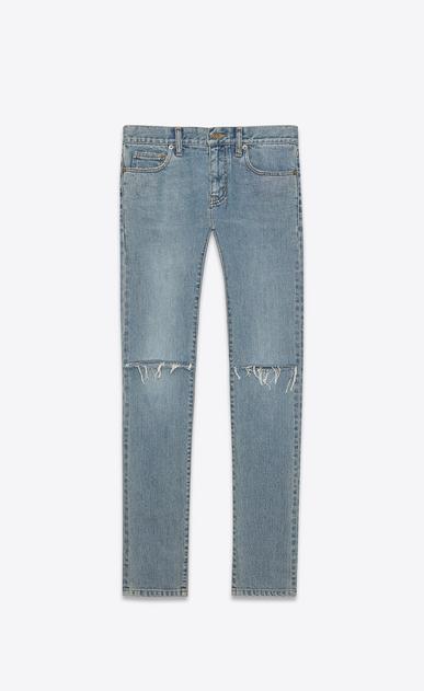 SAINT LAURENT Skinny fit Man ORIGINAL LOW WAISTED Ripped SKINNY JEAN IN Original Vintage Blue Denim a_V4