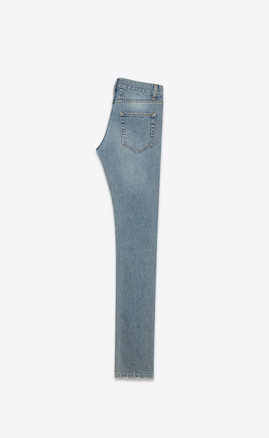 SAINT LAURENT Skinny fit Man ORIGINAL LOW WAISTED Ripped SKINNY JEAN IN Original Vintage Blue Denim b_V4