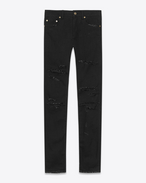 SAINT LAURENT Pantalone Denim U JEANS SKINNY ORIGINAL Destroyed A VITA BASSA neri in DENIM Trash f
