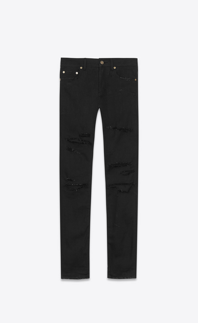 SAINT LAURENT Skinny fit Man ORIGINAL Low WAISTED Destroyed SKINNY JEAN IN Black Trash Denim a_V4