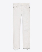 SAINT LAURENT Pantalone Denim U Jeans skinny original a vita media bianchi in denim f