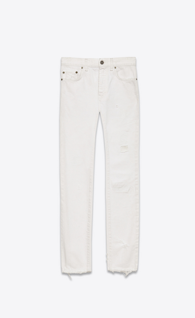 SAINT LAURENT Skinny fit U Original Mid Waisted Skinny Jean in White Denim a_V4