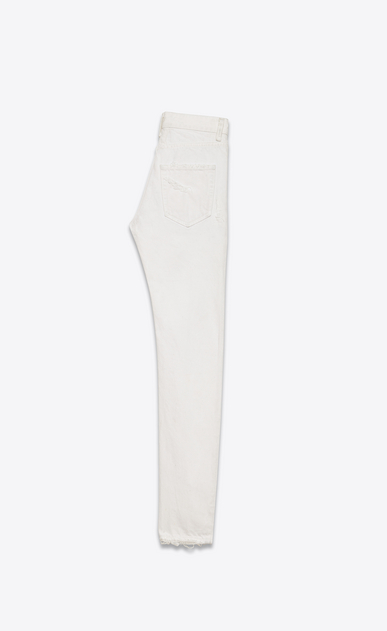 SAINT LAURENT Skinny fit U Original Mid Waisted Skinny Jean in White Denim b_V4