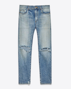 SAINT LAURENT Pantalone Denim U Jeans skinny Original a vita media blu chiaro vintage in denim f